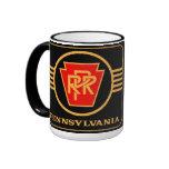 Pennsylvania Railroad Logo, Black & Gold Ringer Mug