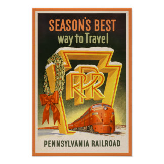 Pennsylvania Railroad Retro Christmas Poster