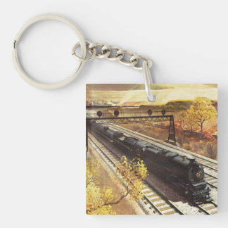 Pennsylvania Railroad Tanker Trains 1942 Double-Sided Square Acrylic Key Ring