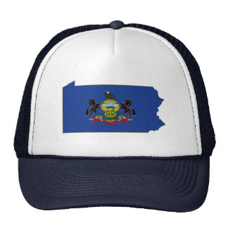 Pennsylvania State Flag and Map Trucker Hats