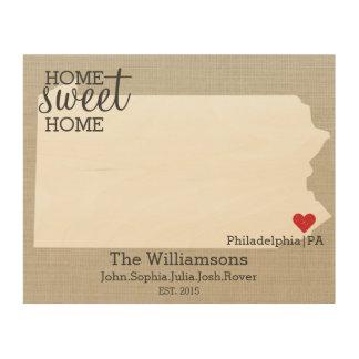 Pennsylvania State Map Custom Family Name & Year Wood Wall Art