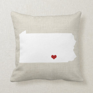 Pennsylvania State Pillow Faux Linen Personalized
