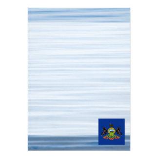 Pennsylvanian Flag Floating on water 13 Cm X 18 Cm Invitation Card