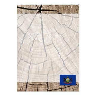 Pennsylvanian flag on tree bark 13 cm x 18 cm invitation card