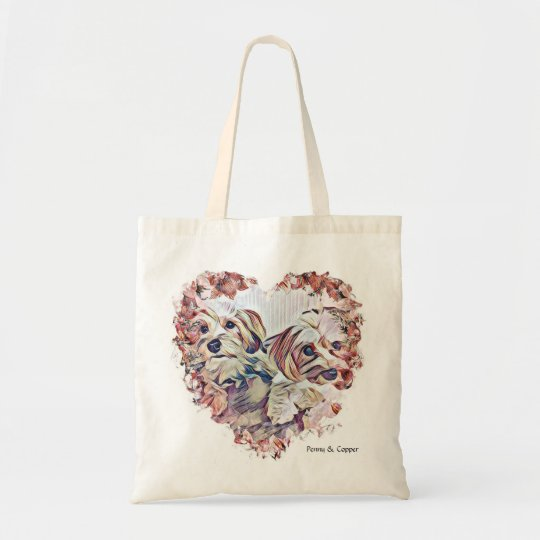 Penny & Copper Morkie heart shaped design tote