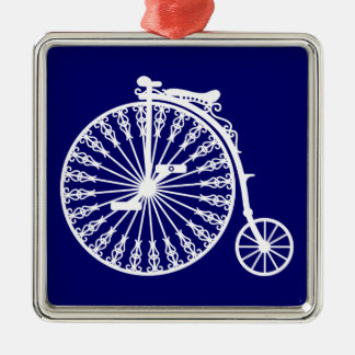 Penny-farthing2 Silver-Colored Square Decoration
