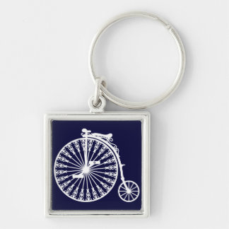 Penny-farthing2 Silver-Colored Square Key Ring