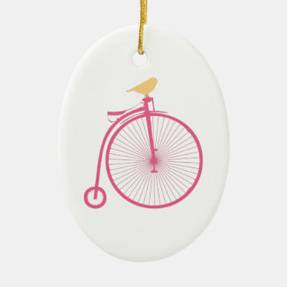 Penny Farthing Double-Sided Oval Ceramic Christmas Ornament