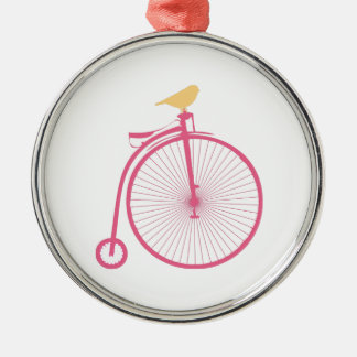 Penny Farthing Round Metal Christmas Ornament