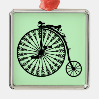 Penny-farthing Silver-Colored Square Decoration