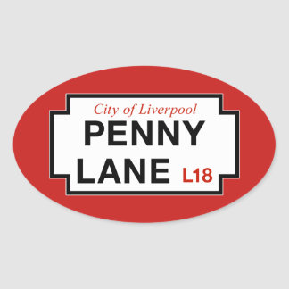 Penny Lane, Street Sign, Liverpool, UK Oval Sticker