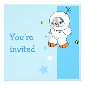 Penny Penguin Astronaut 13 Cm X 13 Cm Square Invitation Card