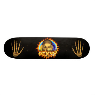 Penny skull real fire and flames skateboard design