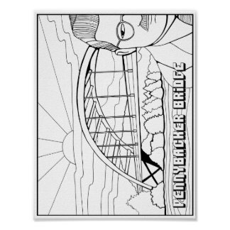 Pennybacker Bridge Cardstock Adult Coloring Page Poster