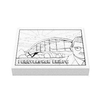 Pennybacker Bridge Line Art Design Canvas Print
