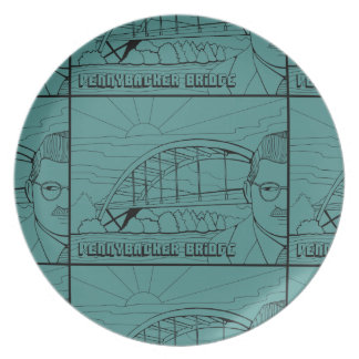 Pennybacker Bridge Line Art Design Plate