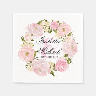 Penoy Floral Wreath Wedding Paper Napkin