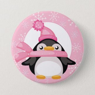 Penquin and Snowflakes 7.5 Cm Round Badge