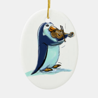 penquin violin player christmas ornament