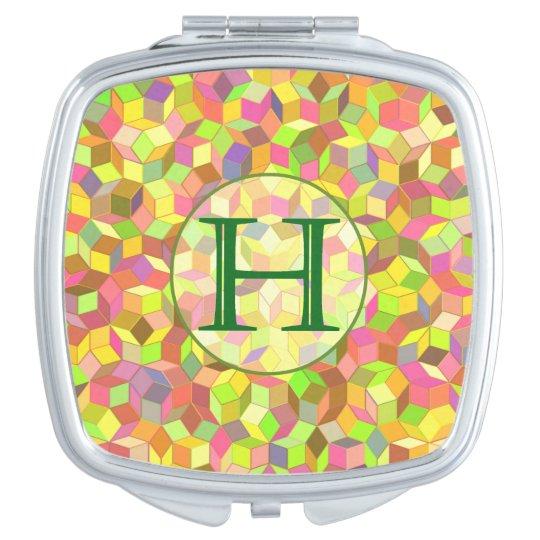 """Penrose Tiling Monogram Mirror """"H"""" Compact Mirror"""
