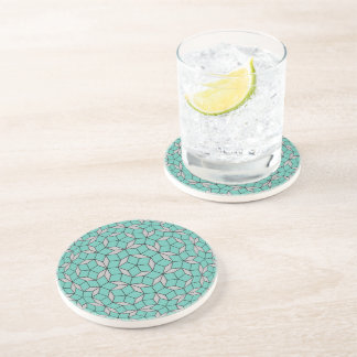 Penrose tiling pattern rounded, gray turquoise coaster