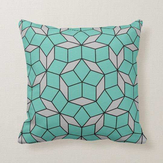 Penrose tiling pattern rounded, grey turquoise cushion