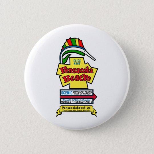 Pensacola Beach Sign Pin-on Button