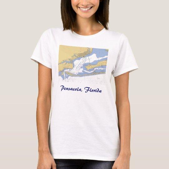 Pensacola, Florida Nautical harbour chart T-shirt