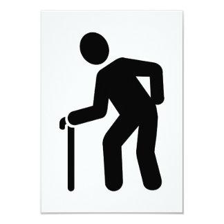 Pensioner walking stick 9 cm x 13 cm invitation card
