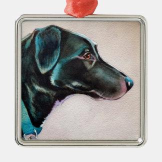 Pensive Black Dog Christmas Ornament
