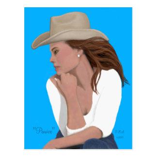 """Pensive"" Cowgirl Postcard"