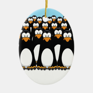 Pensive Penguin Army Christmas Ornament