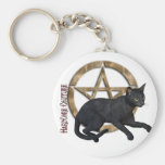 Pentacle Black Cat Key Chain