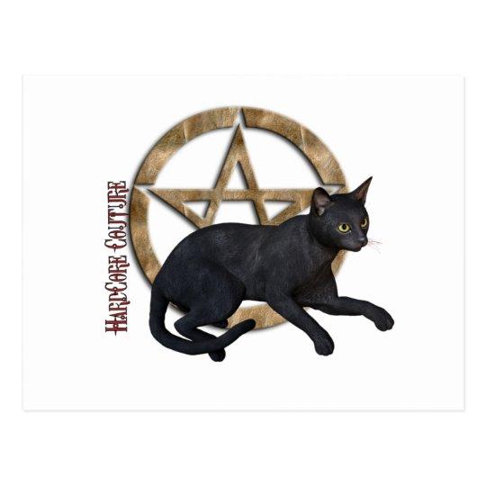 Pentacle Black Cat Postcard