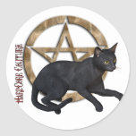 Pentacle Black Cat Round Stickers