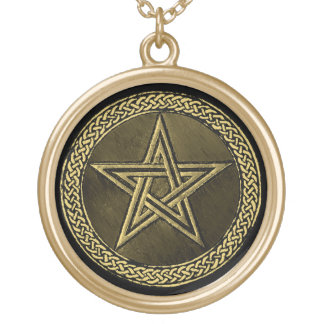 Pentacle Celtic Circle - gold/copilot by version Gold Plated Necklace