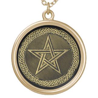 Pentacle Celtic Circle - gold/copilot by version Round Pendant Necklace