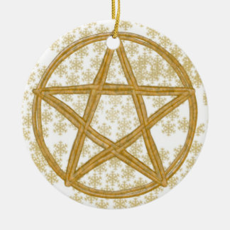Pentacle Double Woven Wicker & Gold Snowflakes Christmas Ornament