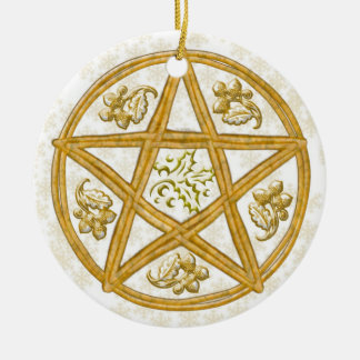 Pentacle Double Woven Wicker, Holly & Oak Round Ceramic Decoration