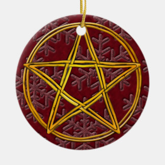 Pentacle Double Woven Wicker & Pink Snowflakes Christmas Ornament