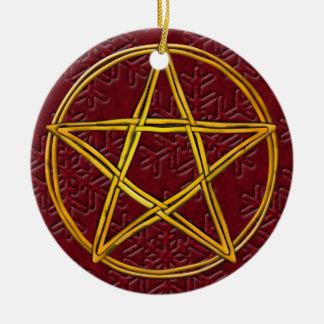 Pentacle Double Woven Wicker & Red Snowflakes Round Ceramic Decoration