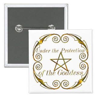 Pentacle Gold, Under the Protection of the Goddess 15 Cm Square Badge
