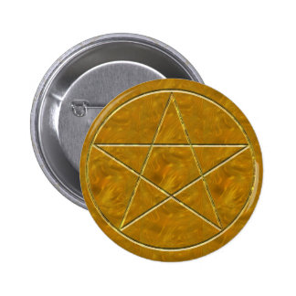 Pentacle in Gold 6 Cm Round Badge