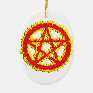 Pentacle of Fire Ceramic Oval Decoration