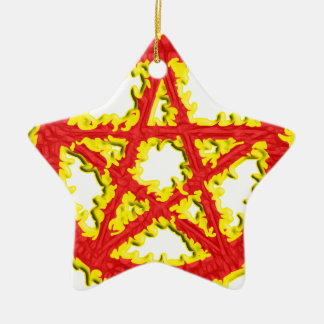 Pentacle of Fire Ceramic Star Decoration