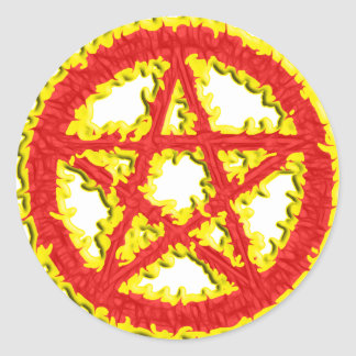 Pentacle of Fire Classic Round Sticker