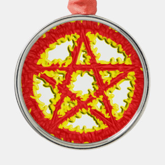 Pentacle of Fire Silver-Colored Round Decoration