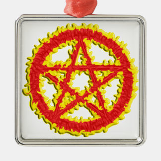 Pentacle of Fire Silver-Colored Square Decoration
