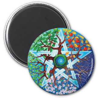 pentacle-seasons fridge magnet