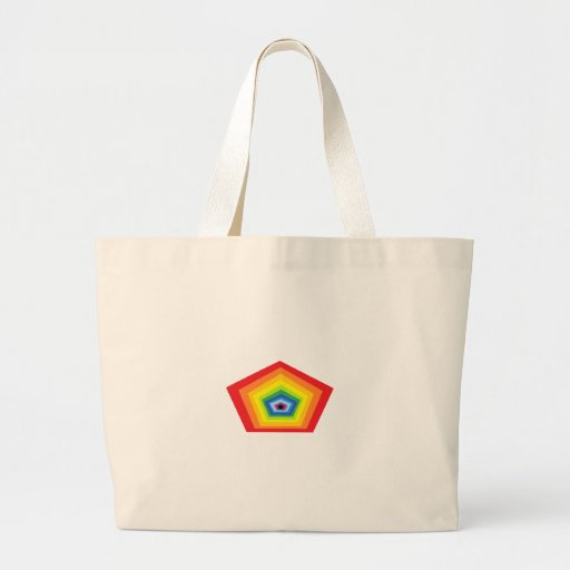 Pentagon shape rainbow colours. canvas bags